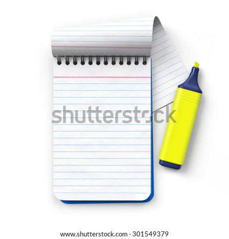 Notepad with yellow Highlighter.Cap removed.Realistic 3D rendering.Isolated on white background.Top view. - stock photo