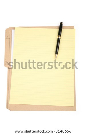 notepaper and file folder, business concept