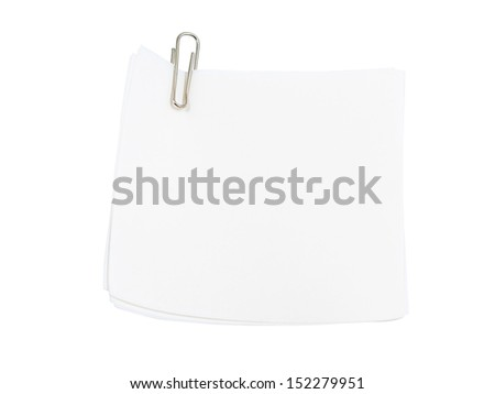 Notepaper with paper clip isolated on white background with clipping path