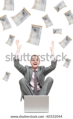 Notes falling from the sky - stock photo