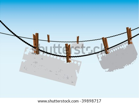 notes hanging on a clothesline illustration