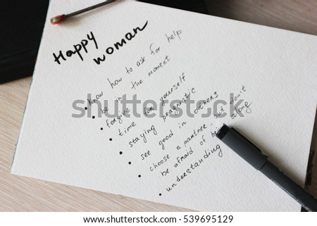 Notes, Happy woman, To do list, Paper background