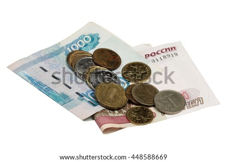 Notes hundred and thousands of rubles and a coin on a white background