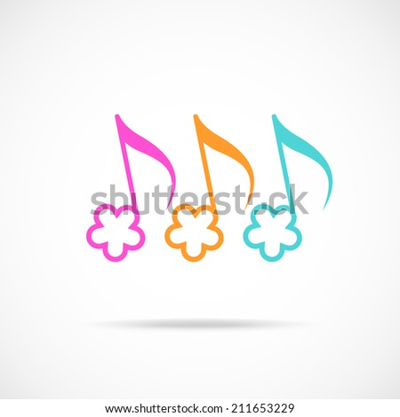 Notes in shape of color flower. Musical icon with concept of summery merry melody. Decorative sign for print, web - stock photo