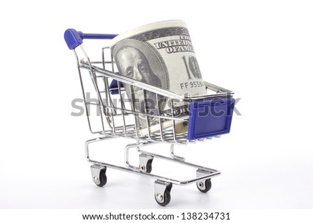 Notes on a roll in shopping cart close up - stock photo