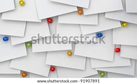 notes paper with push pins - stock photo