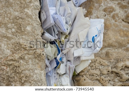 Notes to God in the Western Wall in Jerusalem, Israel - stock photo