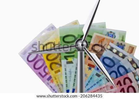 Notes with wind wheel - stock photo