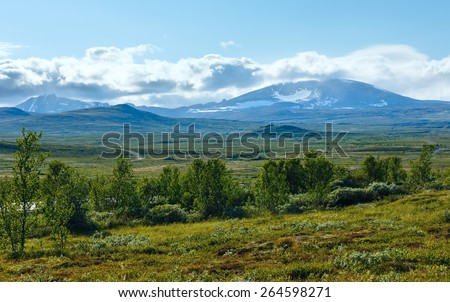 Noth Norway mountain tundra valley and small lake. - stock photo