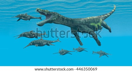 Nothosaurus attacks Shonisaurus 3D Illustration - A carnivorous reptile attacks smaller marine dinosaurs in a Cretaceous ocean. - stock photo