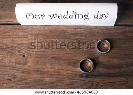 Notice  and rings over wooden table