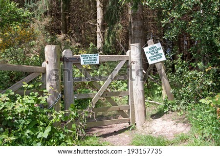 Notice for horse riders on a bridleway - stock photo