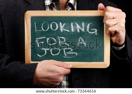 notice for job on chalkboard - stock photo