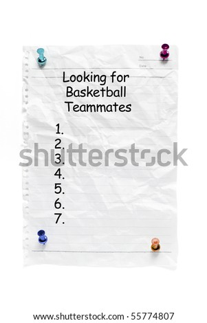 Notice with Pushpins on White Background - stock photo