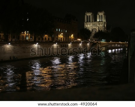 Notre Dame at Night - stock photo