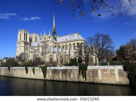 Notre-Dame basilica in Paris - stock photo
