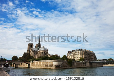 Notre Dame cathedral and Seine river, Paris, France. - stock photo