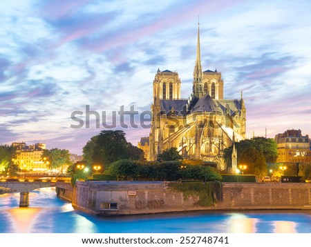 Notre Dame Cathedral at dusk in Paris, France - stock photo
