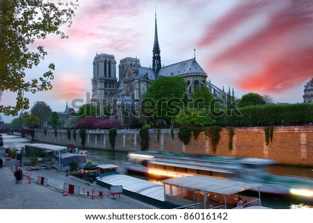 Notre Dame cathedral at evening, Paris, France - stock photo