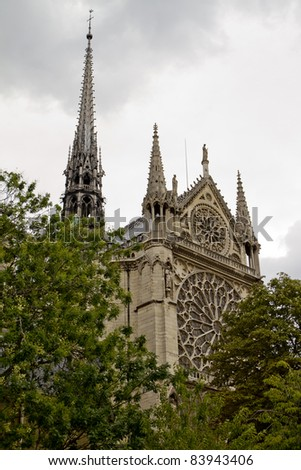 Notre Dame Cathedral Back View, Paris France - stock photo