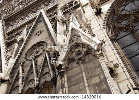 Notre Dame Cathedral gargoyles close-up, Paris, France - stock photo