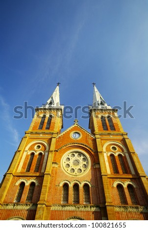 Notre Dame cathedral in Ho Chi Minh City, Vietnam - stock photo