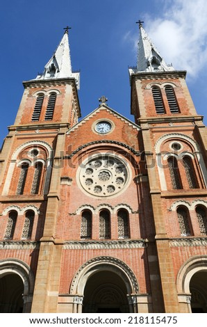 Notre Dame cathedral in Ho Chi Minh City, Vietnam. - stock photo