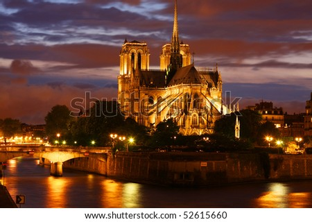Notre Dame cathedral in Paris at sunset - stock photo