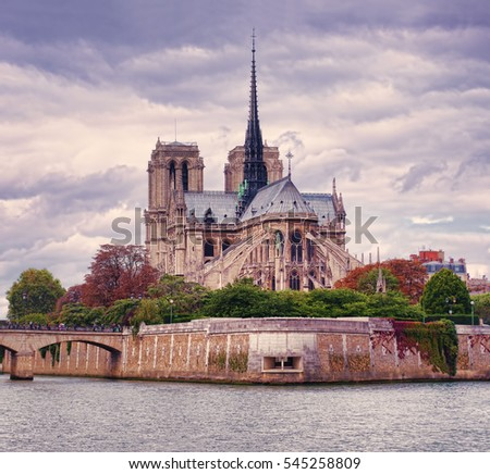 Notre Dame cathedral in Paris city, capital of France