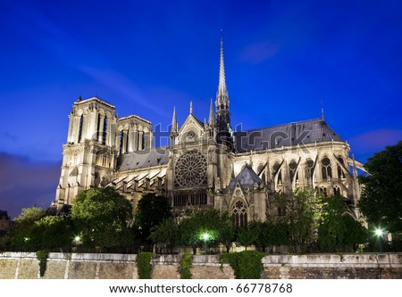 Notre Dame Cathedral in Paris France at night - stock photo