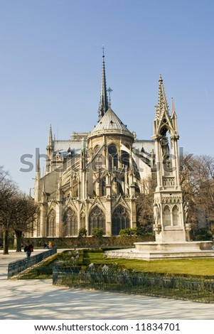 Notre Dame Cathedral in Paris from behind - stock photo