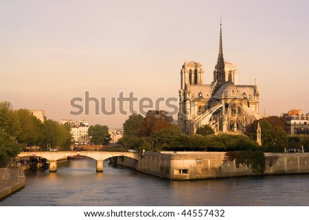 Notre Dame Cathedral in Sun Rise - stock photo