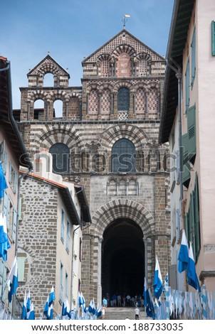 Notre-Dame Cathedral, Le-Puy-en-Velay, Auvergne, France - stock photo