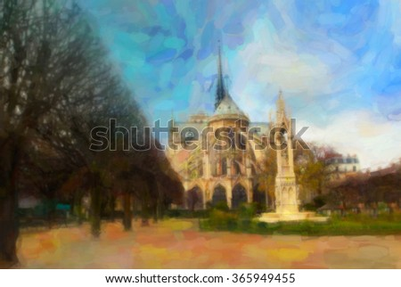 Notre Dame Cathedral. Paris, France. Drawing stylization.