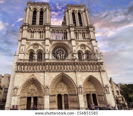 Notre Dame Cathedral with beautiful sky, Paris. - stock photo