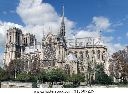 Notre Dame Cathedral with blue autumn sky, Paris, France
