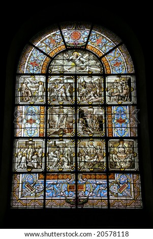Notre Dame church in Versailles, France. Beautiful stained glass art.