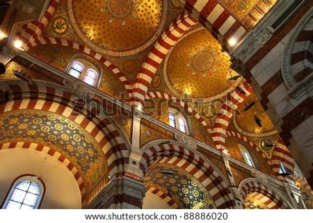 Notre-Dame de la Garde basilica in Marseille, France - stock photo