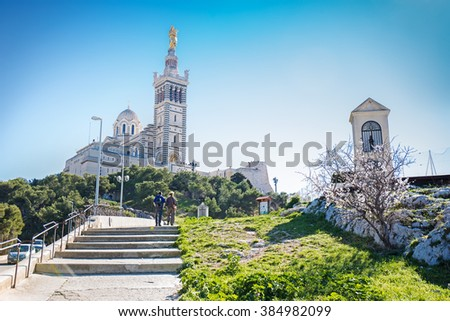 Notre-Dame de la Garde (Our Lady of the Guard), a Catholic basilica in Marseille, France - stock photo