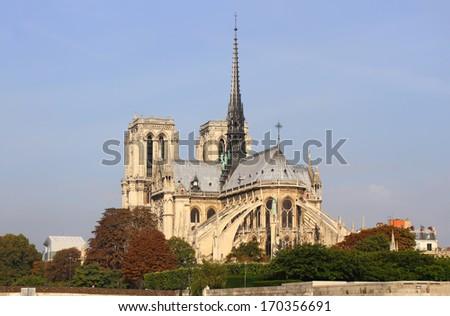 Notre Dame de Paris and the Seine river in the Paris, France - stock photo