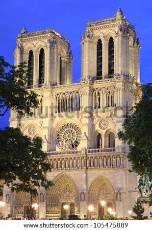 Notre Dame de Paris at dusk, France - stock photo