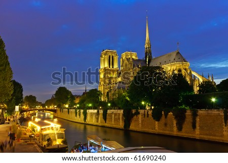 Notre Dame de Paris at night - stock photo