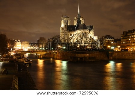 Notre Dame de Paris at night - stock photo