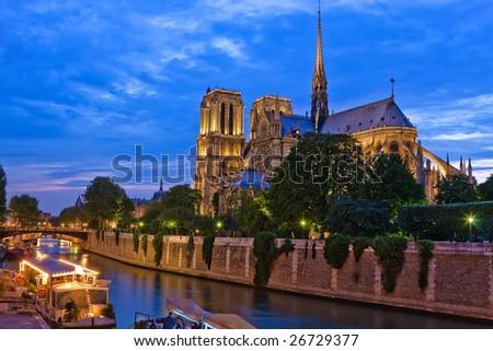 Notre Dame de Paris at night, Paris, France - stock photo