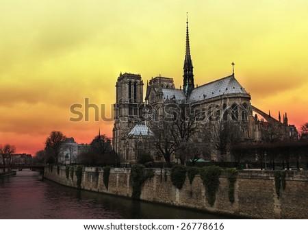 Notre Dame de Paris at Sunset - stock photo