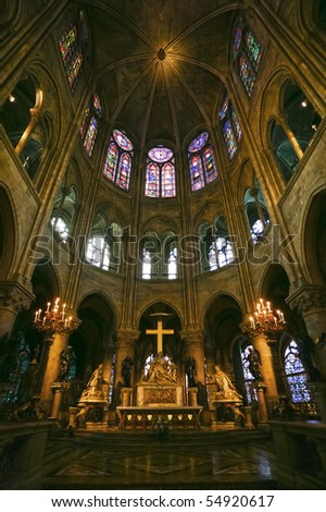 Notre Dame de Paris carhedral interior navealtar rose windo - stock photo