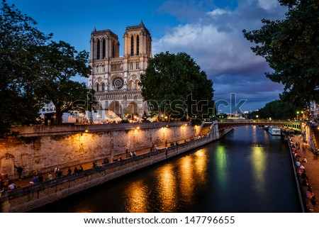Notre Dame de Paris Cathedral and Seine River in the Evening, Paris, France - stock photo