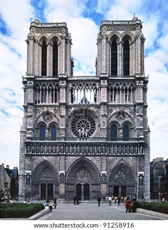 Notre Dame de Paris cathedral before it was cleaned - stock photo