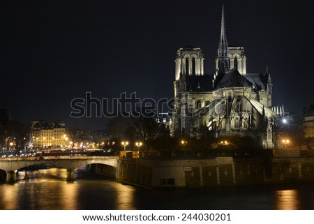 Notre Dame de Paris cathedral, long exposure at night.