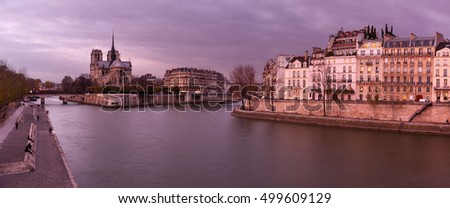 Notre Dame de Paris, France, and Seine river on foreground.
